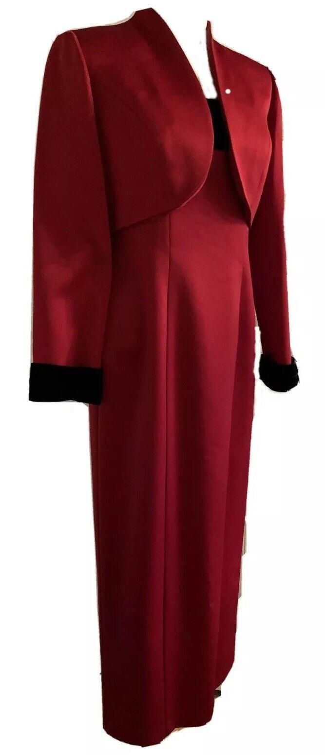 8P Petite Alex Evenings Vintage Red Satin Gown and Jacket Black Velour Trim
