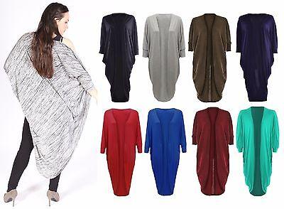 Womens Ladies Open Cocoon Batwing Sleeve Midi Length Kimono Cacoon Cardigan