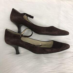 97a7606648502 Details about Lauren Ralph Lauren Kitten Heels Brown Velvet Ankle Strap  Pointed Size 7.5 M