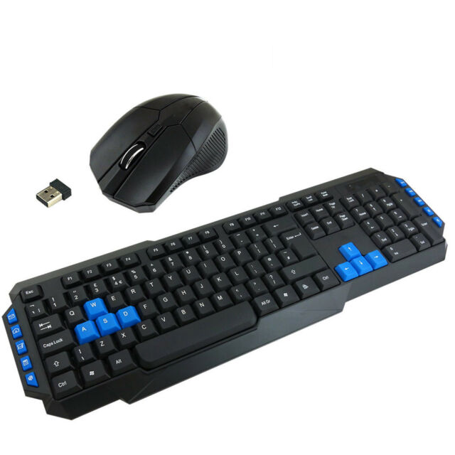 NEW 2.4GHZ WIRELESS GAMING GAMER KEYBOARD AND MOUSE SET COMBO FOR PC LAPTOP UK