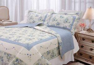 Textiles Plus, Inc. 100-Percent Cotton Full/Queen mini Quilt Set, Trellis Blue,