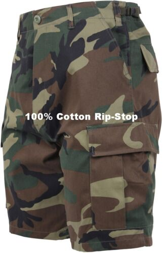 Woodland Camouflage Military BDU Combat Cargo Shorts 100/% Cotton Rip Stop 7056