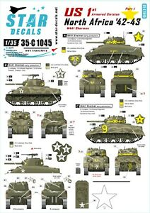 Star-Decals-1-35-US-in-North-Africa-1-1st-Armored-Division-M4A1-Sherman-35c1045