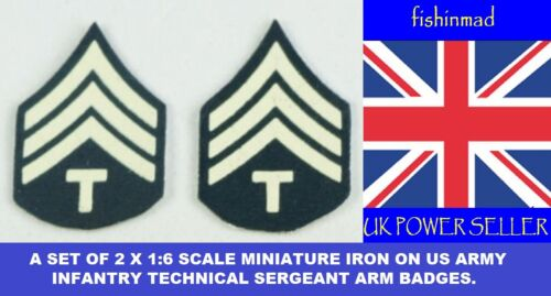 1:6 SCALE MINIATURE US INFANTRY TECHNICAL SERGEANT IRON ON ARM BADGES PATCHES