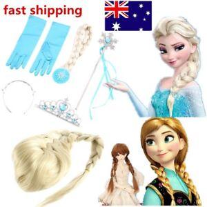 Frozen-Princess-Elsa-Anna-Gloves-Tiara-Crown-Braid-Wig-Hair-Piece-Wand-Kid-NEW-G