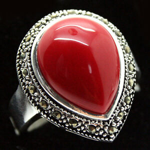 RARE-JEWELRY-DROP-RED-Coral-GEMSTONE-925-STERLING-SILVER-RING-SIZE-7-8-9-10