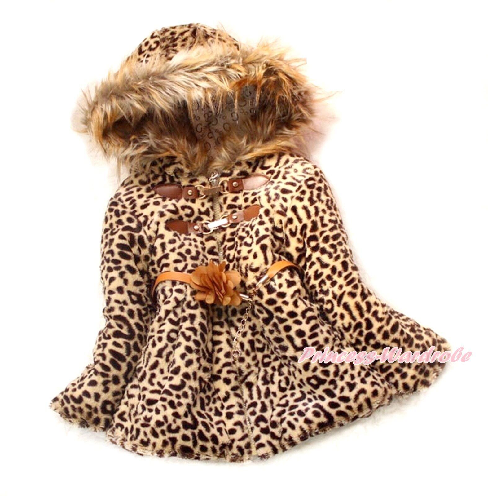Kinder Mädchen Kunstpelz brauner Leopard Schal Mantel Winterjacke Schneeanzug 2-6Year SH37