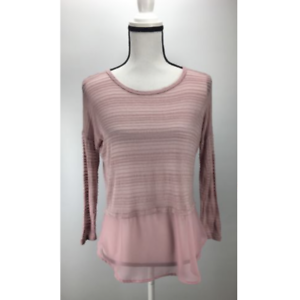 NWT-H-I-P-Women-039-s-Knit-Top-Sheer-Stripes-Long-Sleeve-Scoop-Neck-Blush