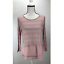 NWT-H-I-P-Women-039-s-Knit-Top-Sheer-Stripes-Long-Sleeve-Scoop-Neck-Blush thumbnail 1