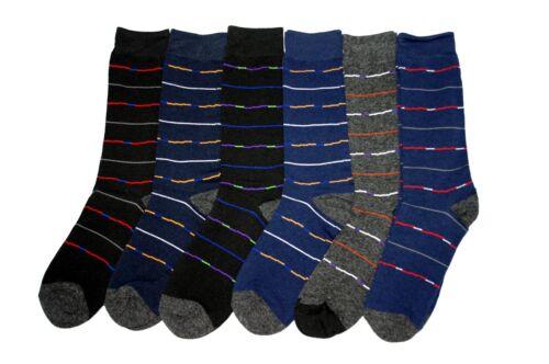 6 Pairs Random Men Long Socks Fashion Classy Thin Stripe Crew Pack US10-13