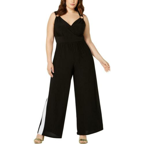 Love Squared Womens B//W Striped Surplice Neck Jumpsuit Plus 3X BHFO 6304