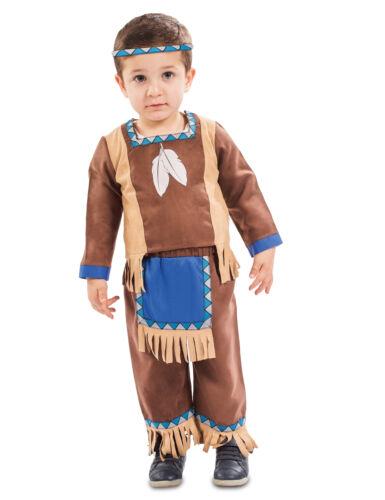 Süßes Indianer-Kostüm für Jungen Kleinkind-Verkleidung braun-blau-beige Cod.3265