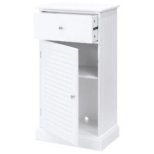 White Wooden Bathroom Bedroom Floor Storage Cabinet Shelf ...