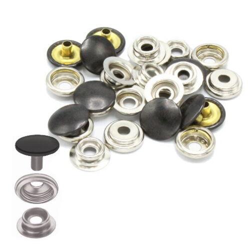 50 x set pulsadores sustituto pulsador snap nähfrei clic buttons Dot Black Edit
