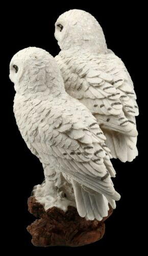 Eulen Figur Schneeeulen Paar auf Ast Uhu Eule Kauz Vögel Dekostatue