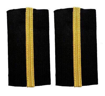 Epaulet Pilot Epaulette Sliders 4 Gold Bars Captain on Black Cloth