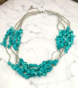 """Seed Bead & Turquoise Multi-Strand Beaded Statement Necklace 20""""- 23"""""""