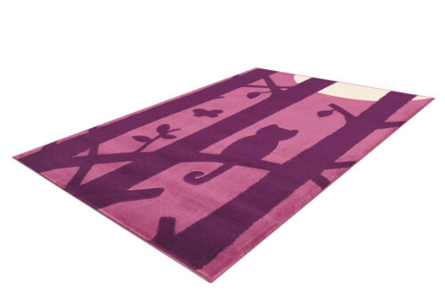 Arte espina niños alfombra gatos gato motivo habitación infantil lila violeta crema