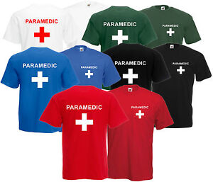 Paramedic-t-shirt-tee-avant-et-arriere-Unisexe-evenement-de-premiers-soins-personnel-equipage