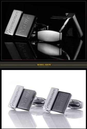 ID gemelos de plata-negro 04 con grabado según preferencias de acero inoxidable boda