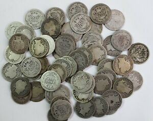 60-1908-1910-D-O-S-Mixed-Lot-Silver-Barber-Dimes-Good-or-Almost-Good-10c-Coins