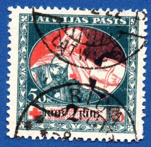 LETTONIE-LETTLAND-1921-50K-2R-Sc-B19-Used-Stamp-bleu-motif-au-dos-103