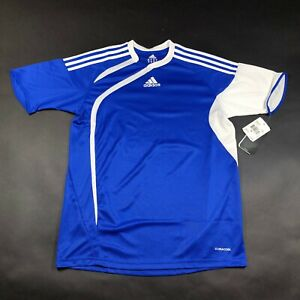 Details about NEW Adidas Jersey T Shirt Youth Boys XL Blue White Striped Tiro Soccer Crew Neck