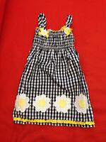 Nannette Little Girl Dress Sz 6 Floral Applique Yellow Black Gingham Smocked