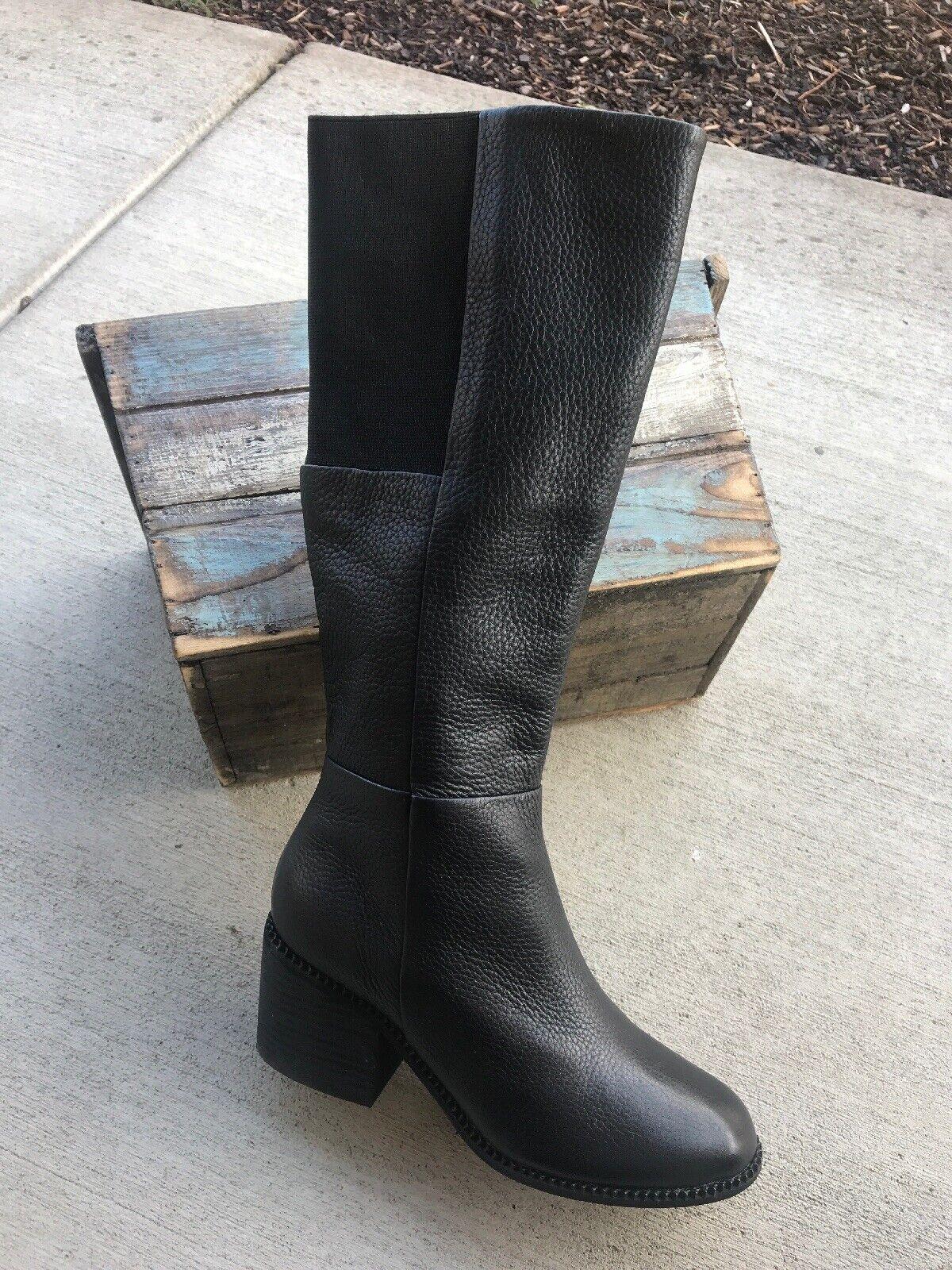 6.5 espléndido Kassie Negro Cuero Talón la rodilla botas Altas Calzado de mujer