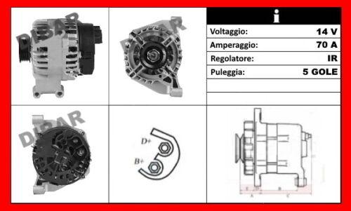ALTERNATORE NUOVO 70AH FIAT GRANDE PUNTO 1.2 DA ANNO 2005 KW48 CV65 199A4000 32