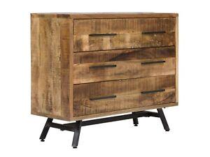 Kommode 110 Cm Mango Holz Metall Natur Schrank Sideboard Massivum
