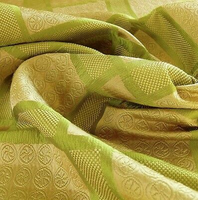 10Y AMAZING ITALIAN SILK COTTON FIGURED WOVEN GREEN GOLD BTY MSRP$250+