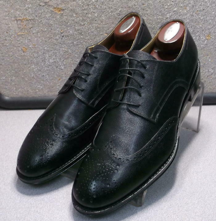 240905 PFi60 Men's Shoes Size 9 M Black Leather Made in Italy Johnston&Murphy