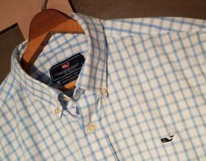 Vineyard-Vines-Mens-Slim-Fit-Whale-Shirt-Size-XL-Blue-Check