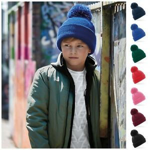 65cc06158170ef Image is loading Childrens-Bobble-Hat-Beanie-Hat-Reflective-Warm-Winter-