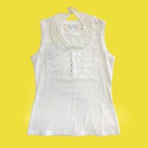 Canotta in Cotone Bianco con Colletto Staccabile Bambina She.Ver CHJTS7637