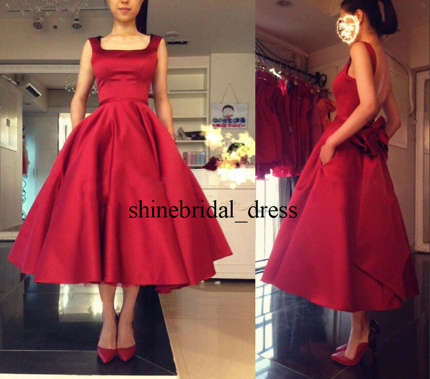 New Dark Red Satin A Line Formal Prom Evening Gown Tea Length Graduation Dresses