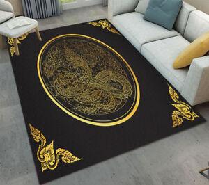 Gold Dragon on Black Kitchen Bathroom Area Rugs Floor Non ...