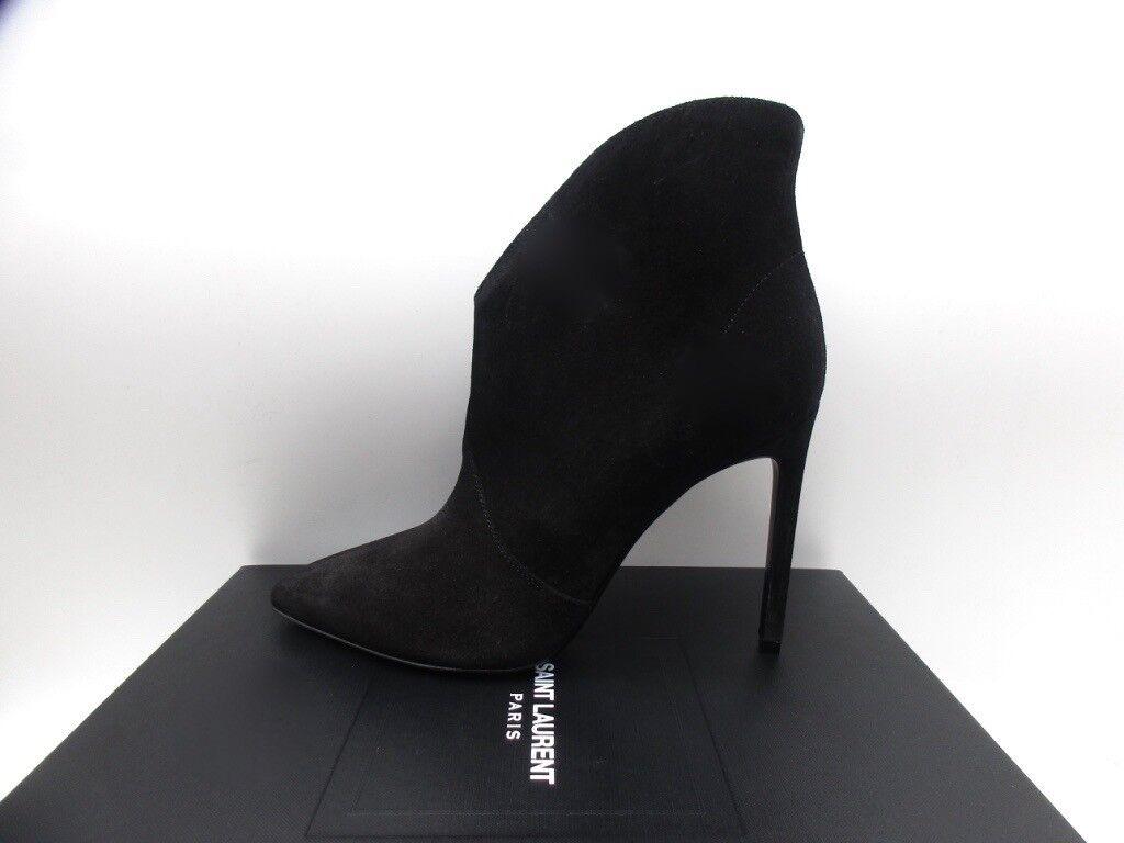 Yves Saint Laurent Paris 105 Black Suede Ankle Boots Booties 40 10