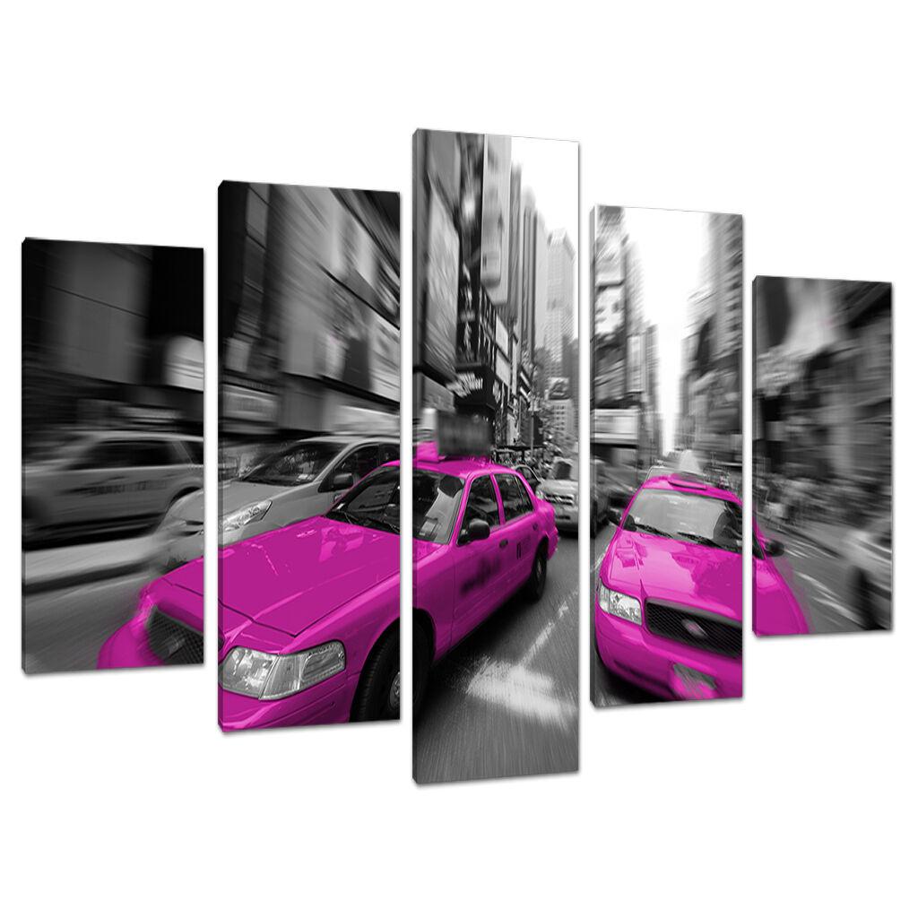 5 Panneau Noir Rose Toile Art Mural Noir Panneau Blanc   New York Villes 5026 178aae