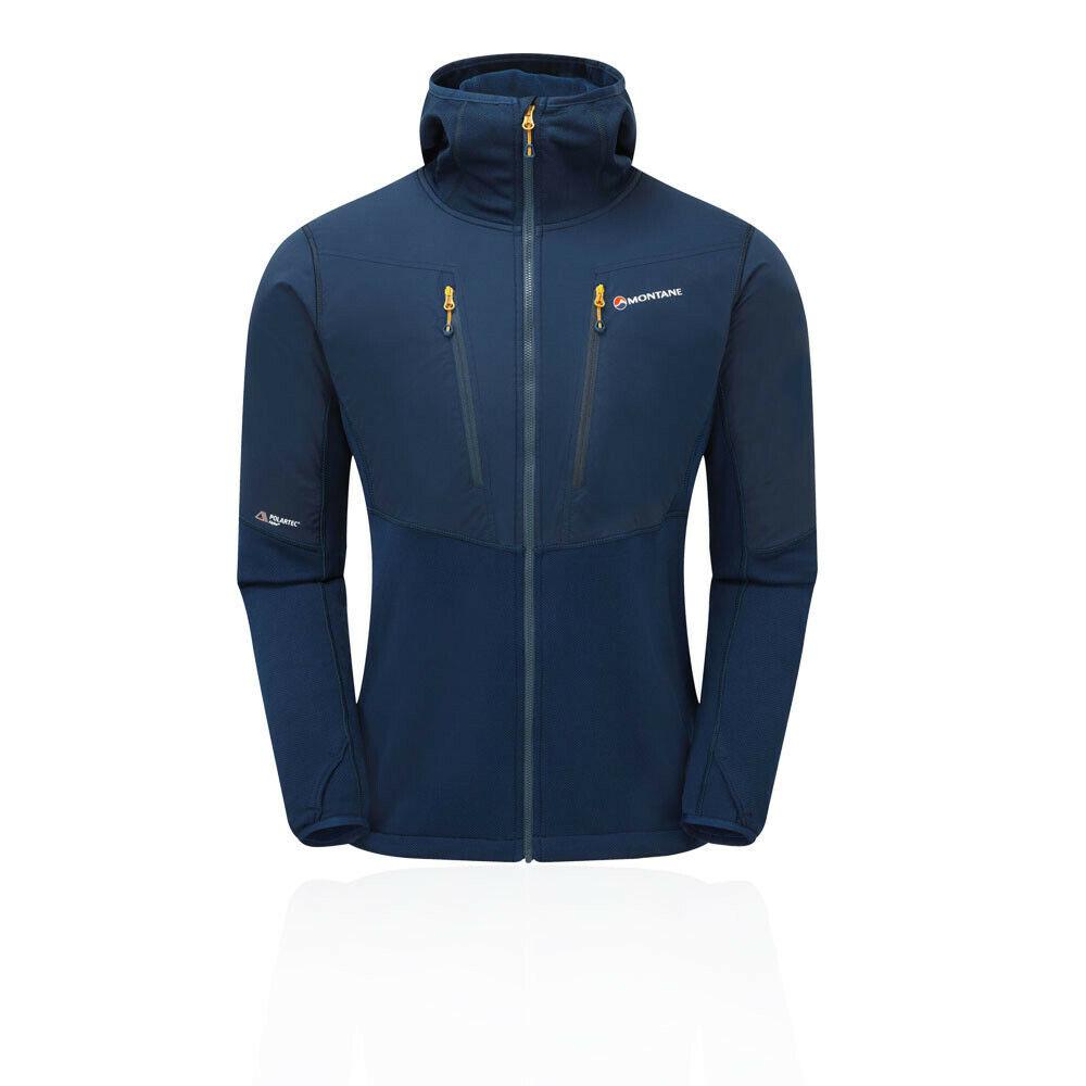 Montane Herren Alpha Balance Jacket Top Blau Navy Sport Draußen Full Zip Hooded