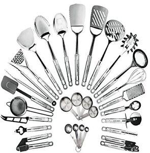 Details about Stainless Steel Kitchen Utensil Set 29 Cooking Utensils  Nonstick Cookware