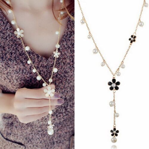 Elegant Women Flower Pearl Crystal Pendant Necklace Sweater Long Chain Jewelry