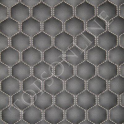 Cnc Stitched Large Panel Hexagon Double Design Ebony Black Faux Leather Vinyl Ebay