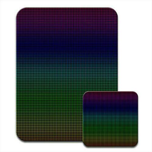Grid Lines Green Blue Mouse Mat Pad /& Coaster