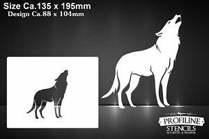 Wolf-heult-Tier-Airbrush-Schablone-Mini-Stencil