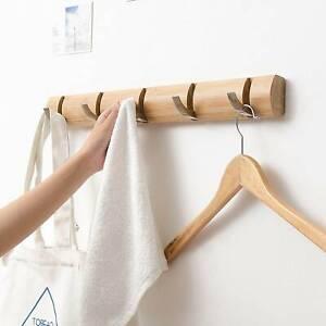 Foldable Bamboo Coat Robe Hat Clothes Hook Wall Mount Hanger Hooks Towel Rack