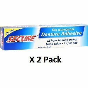 Secure Denture Adhesive >> Details About Secure Denture Adhesive 40g X 2 Pack