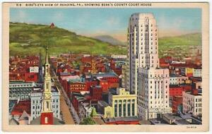 Bird-039-s-Eye-View-Of-Reading-PA-Berk-039-s-Court-House-to-Stocton-CA-1952-LINEN-PC
