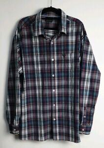 Jack-Stone-Men-039-s-Long-Sleeve-Check-Shirt-Size-3XL